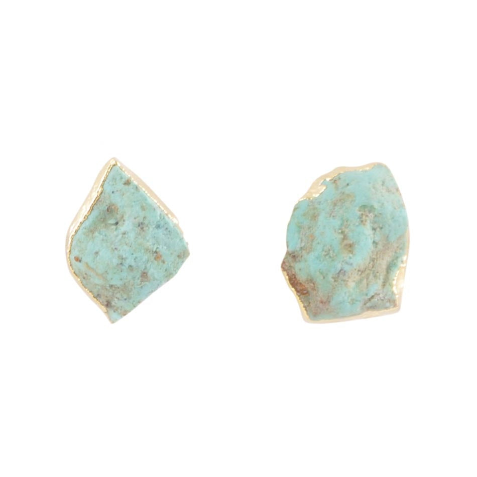 Rough Turquoise Magnesite Post Earring