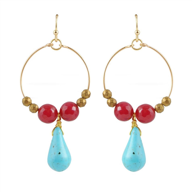 Scarlet and Gold Beaded Hoop Earring