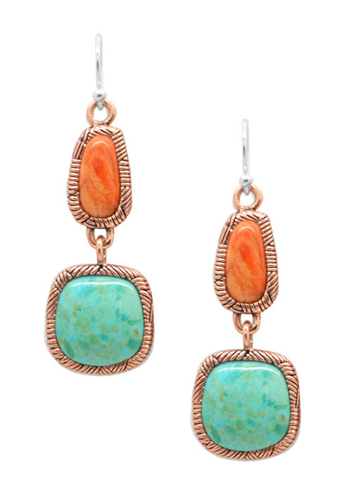 Etched Copper and Stone Earring