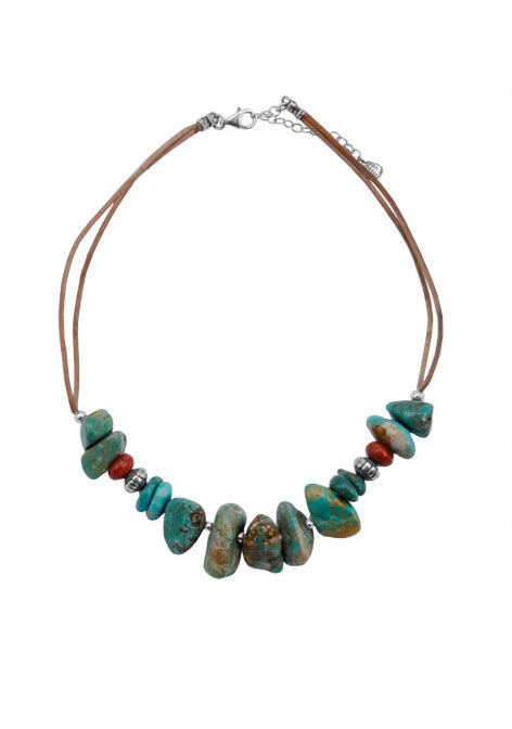 Stacked Stone Turquoise and Coral Necklace