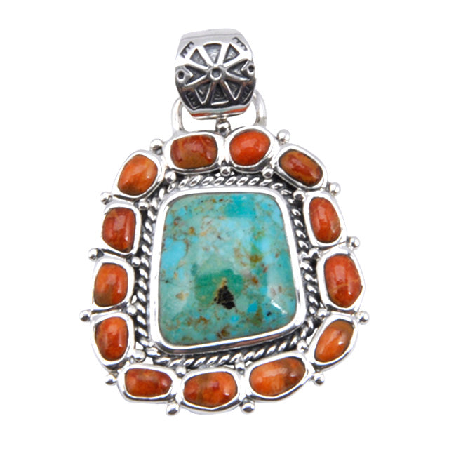 Sedona Turquoise and Coral Enhancer/Pendant