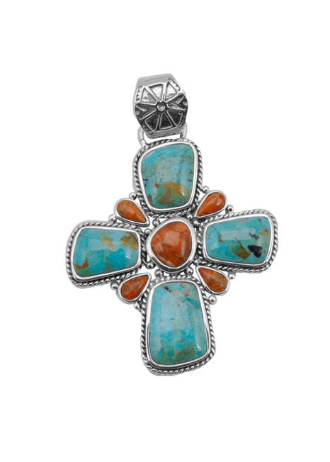 Sedona Turquoise and Coral Cross Enhancer/Pendant