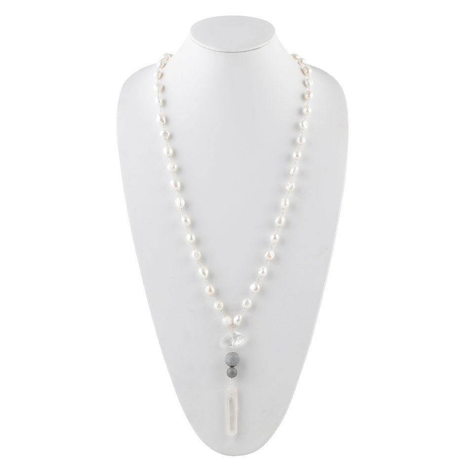 All Dressed Up Pearl,Drusy and Quartz Necklace