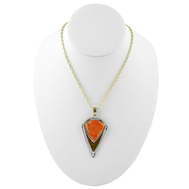 Sentinel Mixed Metal and Coral Necklace