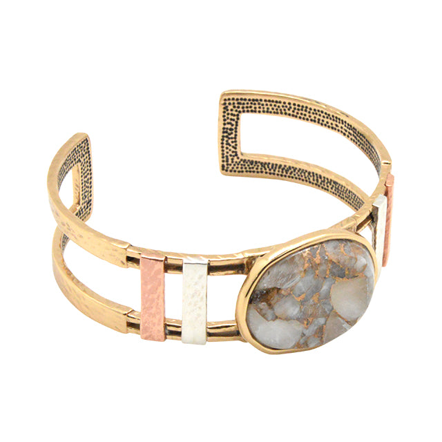 Mixed Metal and Stone Cuff Bracelet