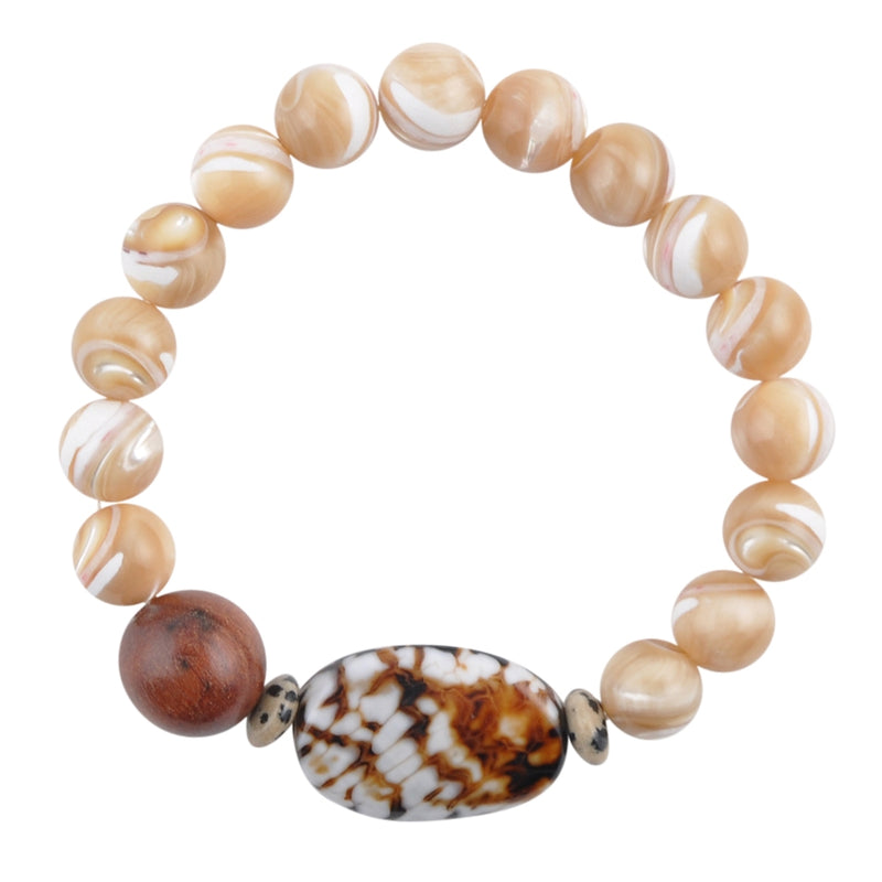 Carmelized Shell and Agate Stretch Bracelet