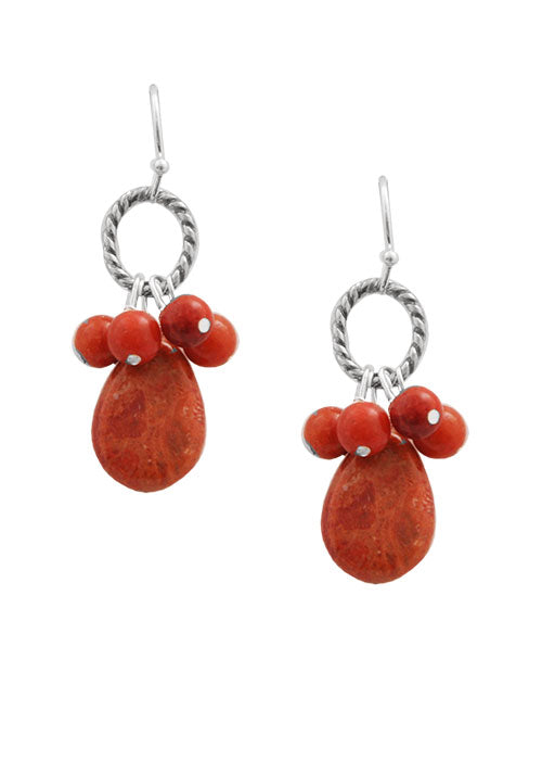 Orange Sponge Coral Lasso Earring