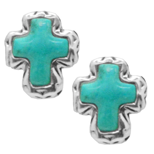 Classic Turquoise Cross Earring