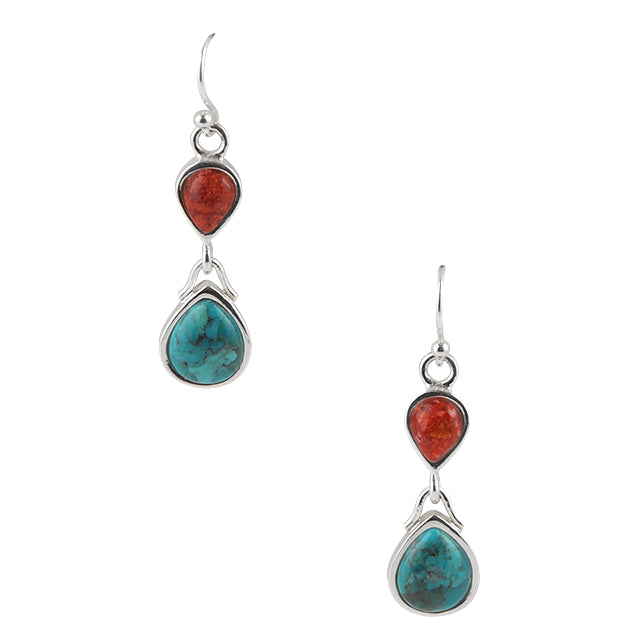 Double Time Turquoise and Red Howlite Earring