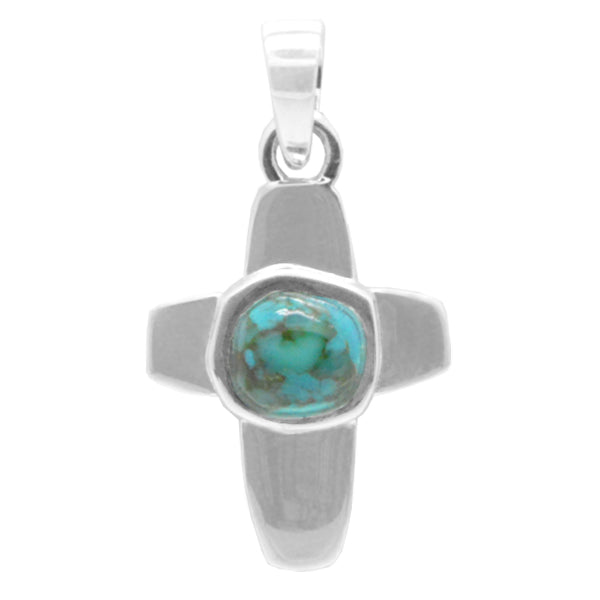 Turquoise Dotted Cross Pendant
