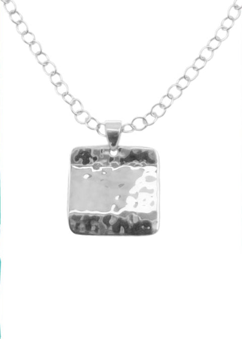 Hammered Square Sterling Necklace