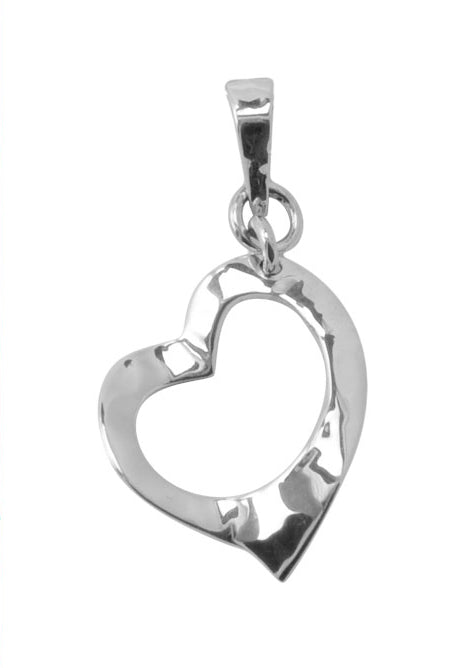 Hammered Heart Sterling Pendant