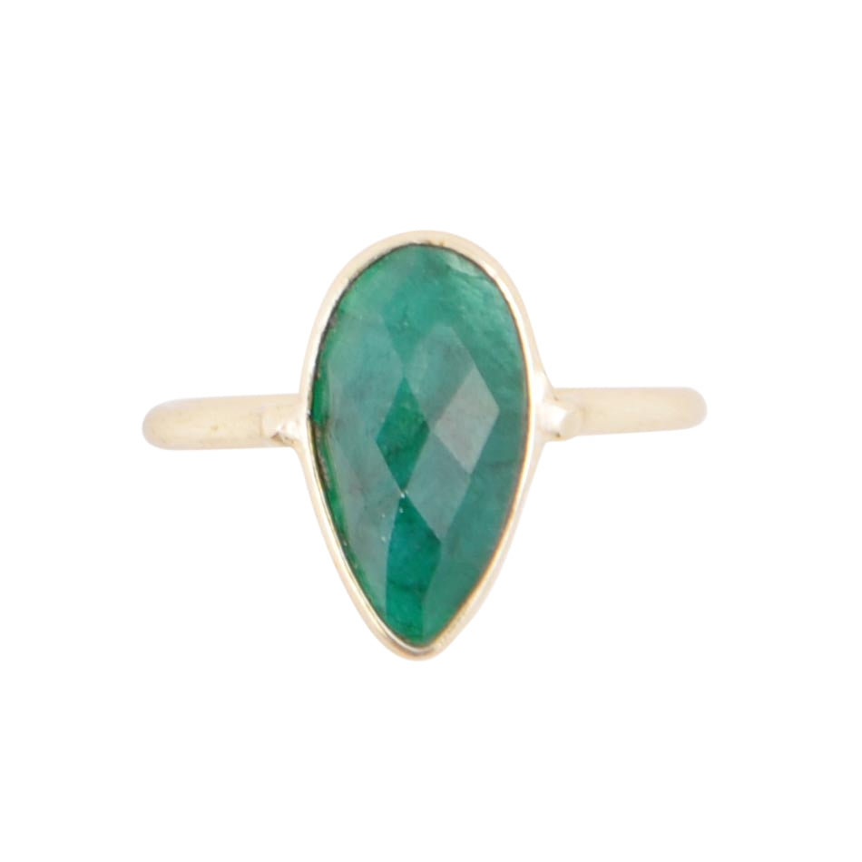 Unfolded Petals Gold Plated Ring - Green