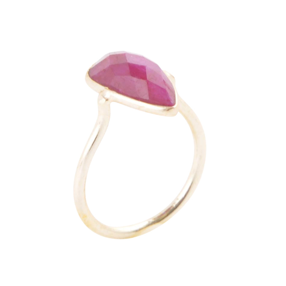 Unfolded Petals Gold Plated Ring - Ruby
