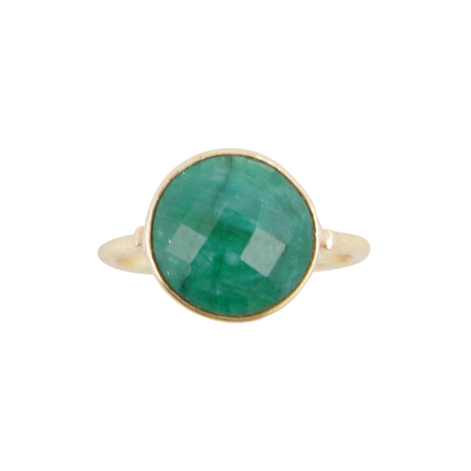 Circle of Love Gold Plated Ring - Green