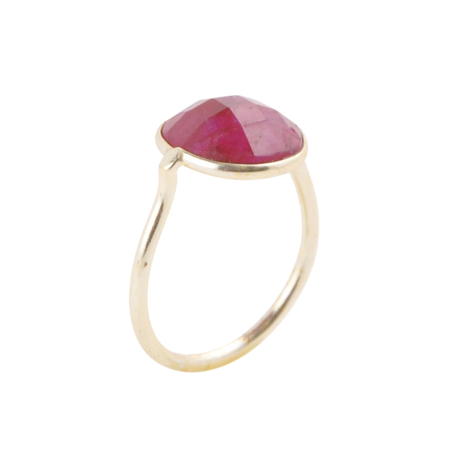 Circle of Love Gold Plated Ring - Ruby
