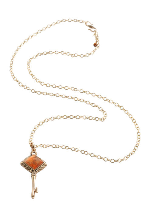 Skeleton Key Necklace-Orange Sponge Coral