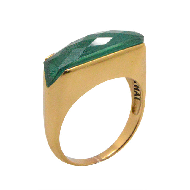 Faceted Linear Ring-Green Onyx