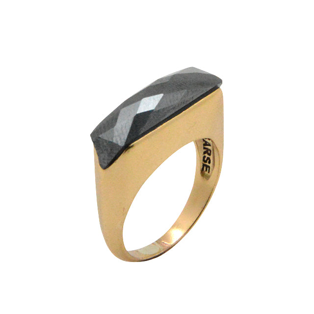 Faceted Linear Ring- Hematite