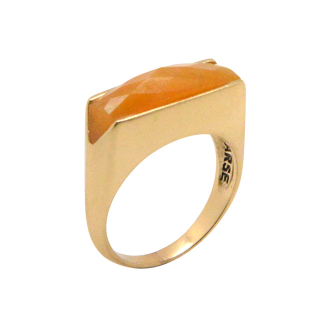 Faceted Linear Ring- Orange Jade