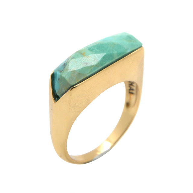 Faceted Linear Ring-Turquoise