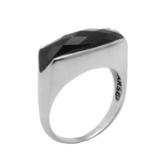 SLICE Onyx Ring-Sterling Silver