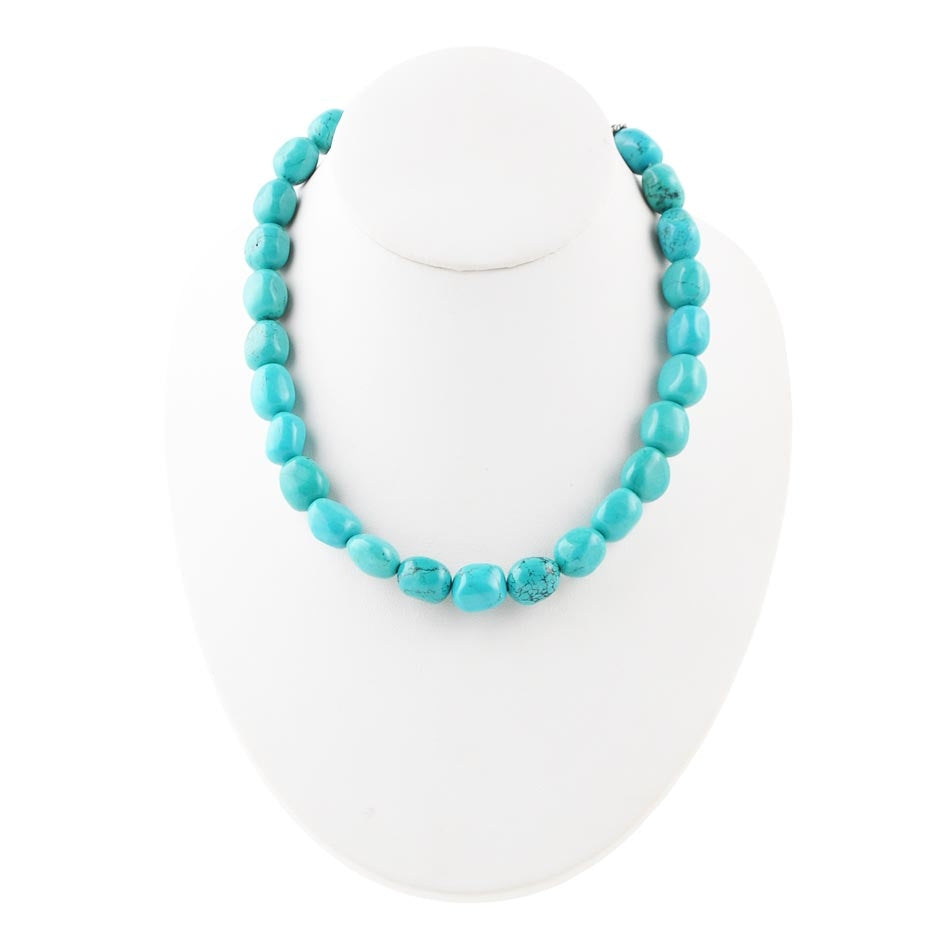 Turquoise Nugget Necklace Sterling Clasp