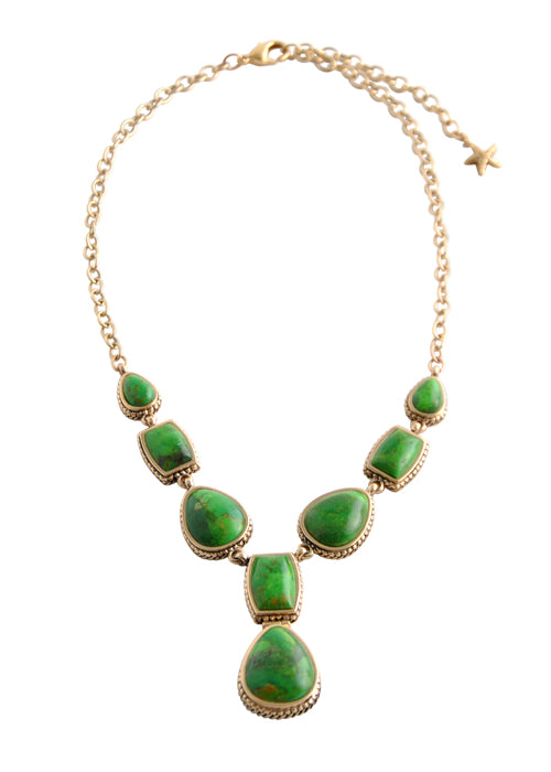Lime Turquoise Multi-Shape Necklace