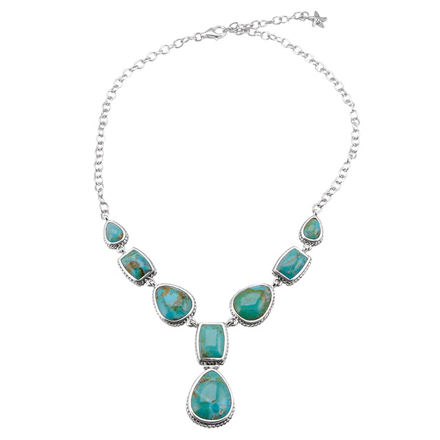 Turquoise Multi-Shape Necklace-Sterling Silver