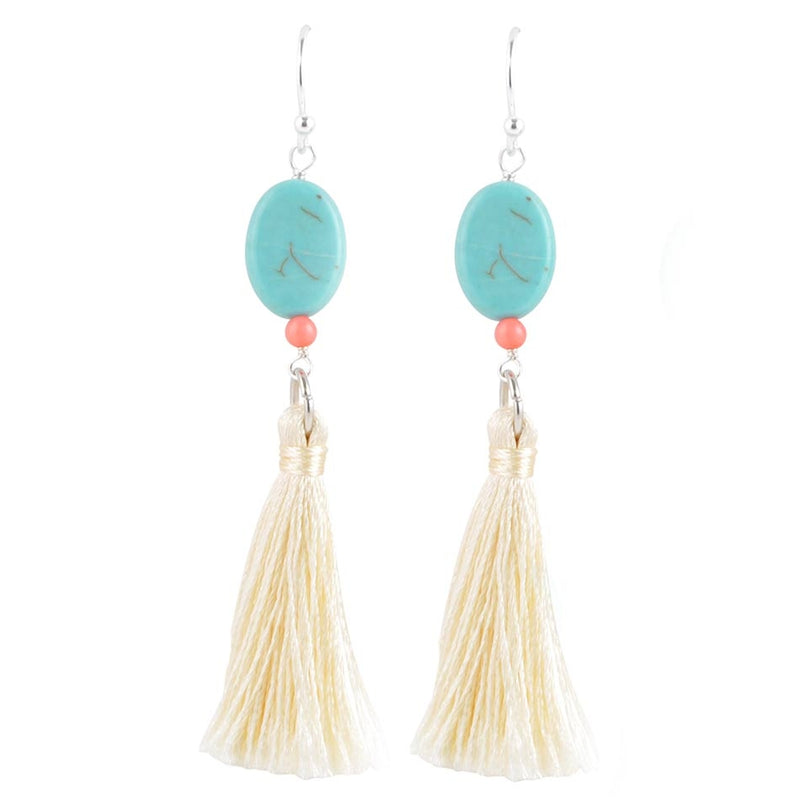 Turquoise and Tassel Earring