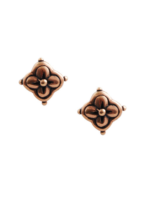 Clover Post Earring-Copper