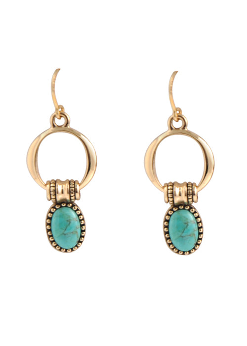 Bronze and Turquoise Circle Earring