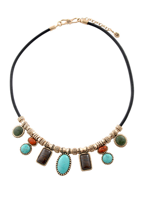 Leather and Stone Cascade Necklace