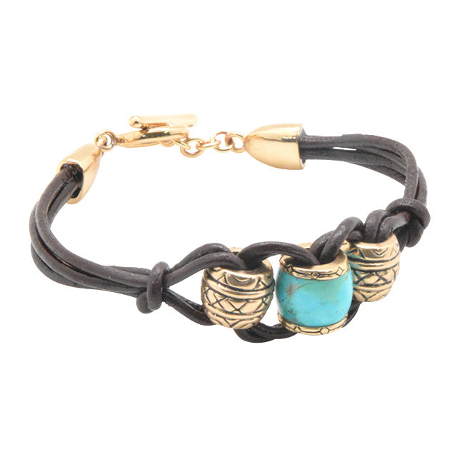 Leather and Beaded Turquoise Bracelet