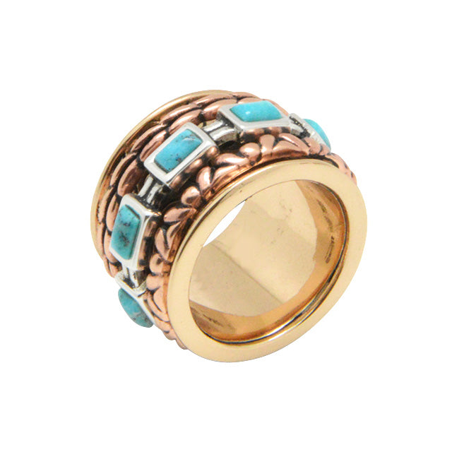 Multi-Metal and Turquoise Spinner Ring 3