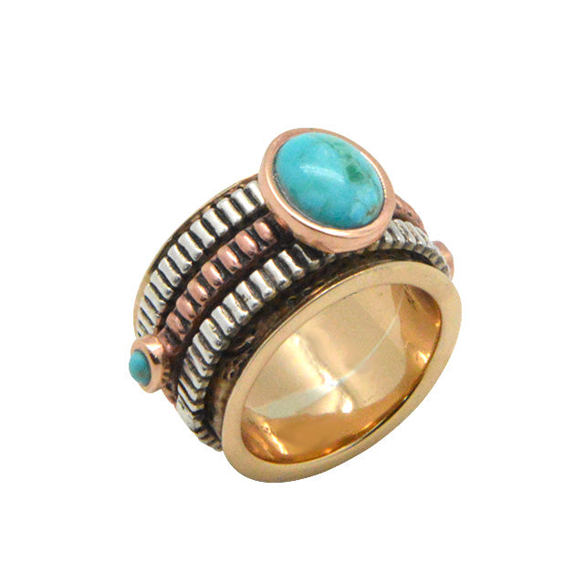 Multi-Metal and Turquoise Spinner Ring 2