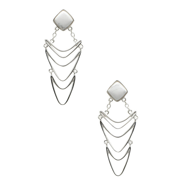Drop Everything Howlite Earring