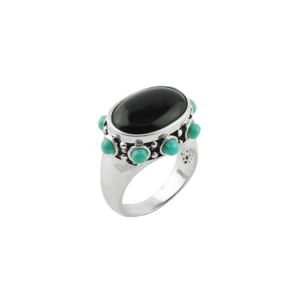 Turquoise Dotted Oval Ring