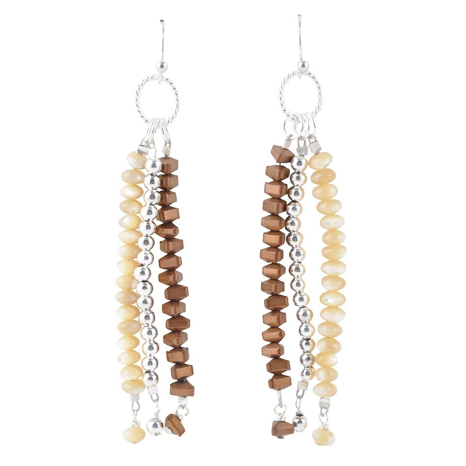 A Little Out of Line Beaded Earring-Caramel