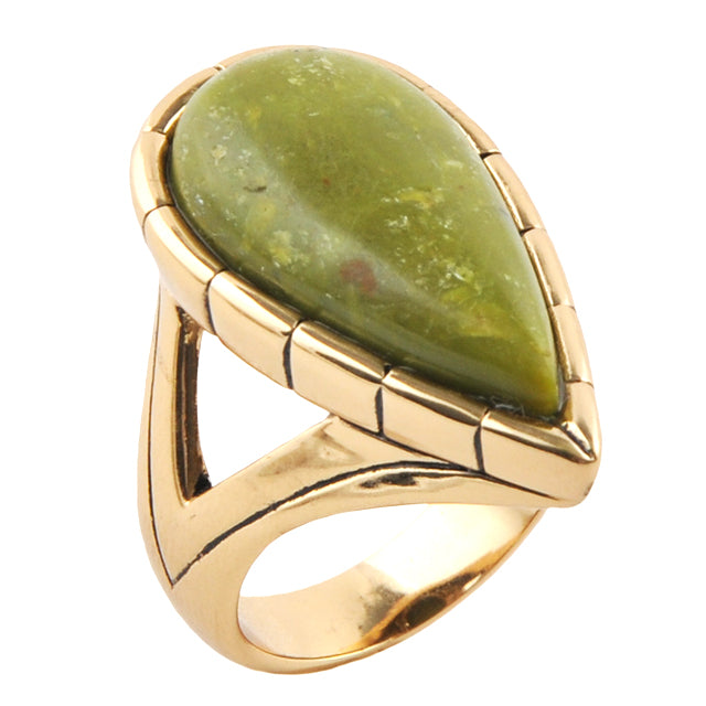 Bronze and Green Opal Rainforest Ring