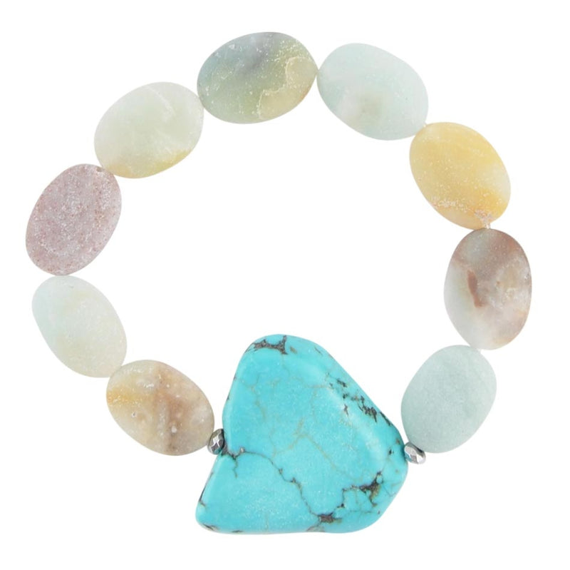 Blue Mesa Stretch Bracelet-Amazonite and Magnesite