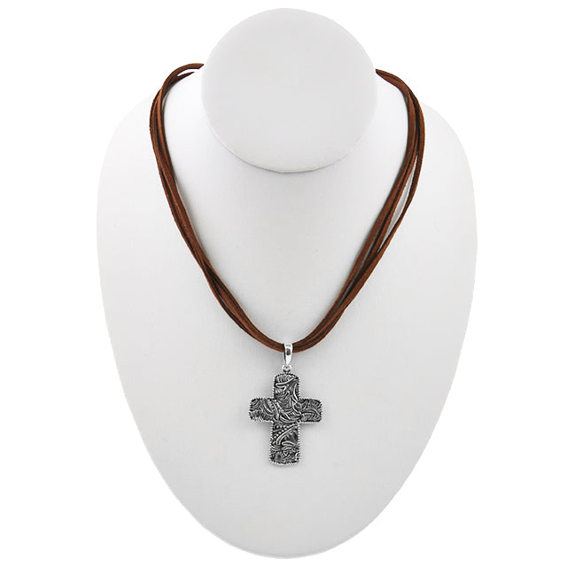 Stamped Sterling Cross and Leather Necklace