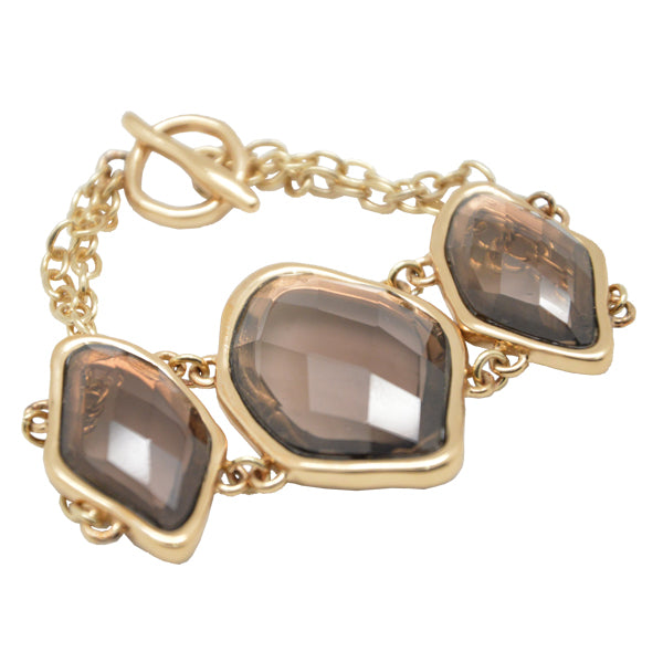 Faceted Smoky Quartz Toggle Bracelet