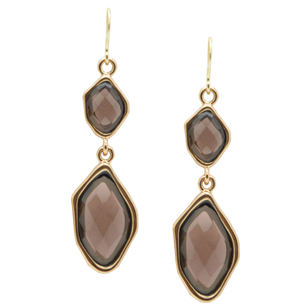 Faceted Smoky Quartz Earring