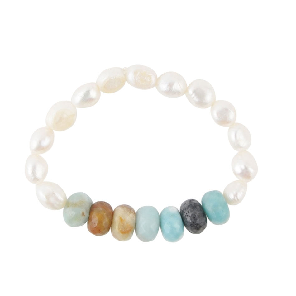 Amazonite and Pearl Stretch Bracelet