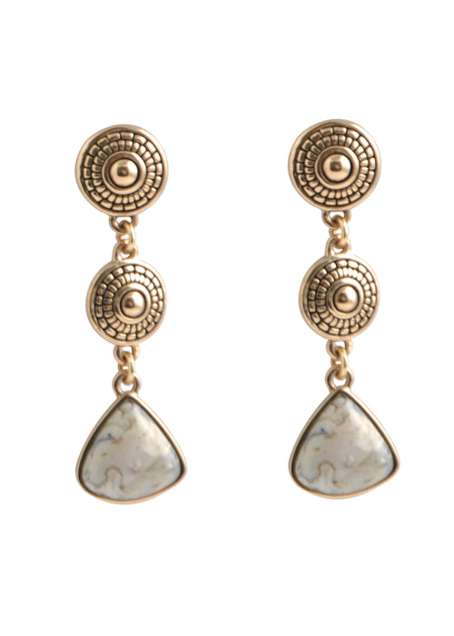 African Opal Medallion Post Earring