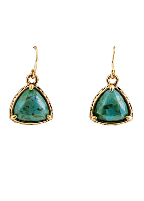 Bronze and Turquoise Triangle Earring