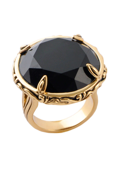 Faceted Onyx Ring-7
