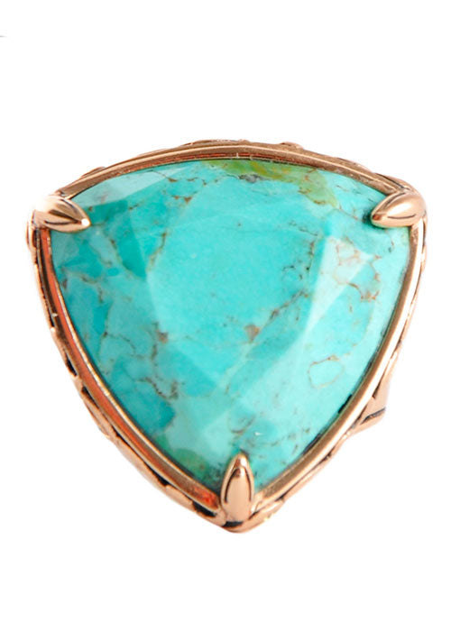 Copper and Turquoise Triangle Ring-5