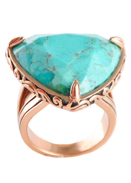 Copper and Turquoise Triangle Ring-12